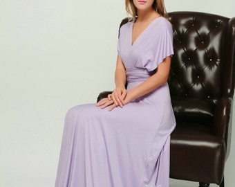 Lavender convertible dress, infinity dress, Long convertible dress, bridesmaid dresses, convetible wrap dress