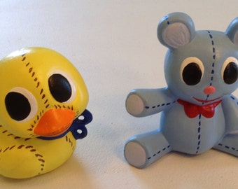 Small Ceramic Toy Duck and Bear Set
