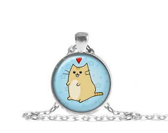 Kawaii Cat Necklace, Kawaii Cat Pendant  with Chain, Gift for Cat Lover