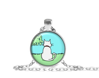 Kitty Cat Necklace, Cat Pendant, White Cat Necklace with Chain