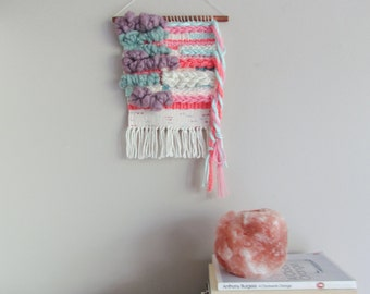 Weaving Wall Hanging // Hand woven in Pink, Purple, Mint & White. Braided Texture, Soft and fluffy Tapestry. fibre art, loom weaving