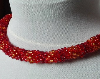 Autumn Flames, Red and Orange, Neckle/Bracelet, Multifunctional Beauty, Beaded, Rope, Peyote, Biser