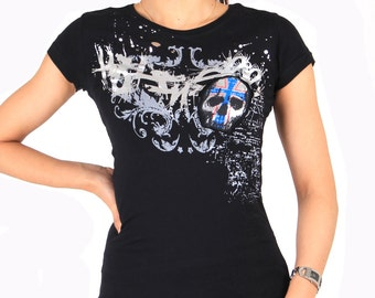 Skull Tee with Silver Foil print
