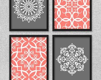 Printable Art Set, Coral and Gray Art, Printable Art, Bedroom Art, DIGITAL DOWNLOAD Art, Printable Wall Art, Home Decor, Bathroom Art