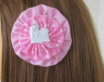 Pink YoYo Hair Clips, White Dog, Polka Dots, Vintage Style YoYos, eclectiKIDS