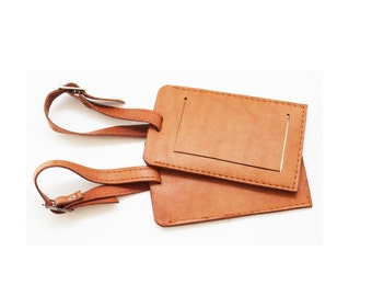 Leather Luggage Tag Set / 2 Leather Luggage Tags [TAG042X-18-xx]