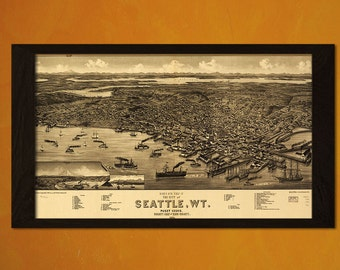 Old Seattle Map 1884  -  Antique Map Retro Poster Old Prints Ancient Maps Wall Decor Office decoration Vintage  t