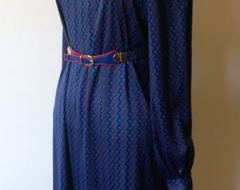 Vintage 1970's Anna Giovanozzi Designer Midi Dress With Bell Sleeves - UK Size 14