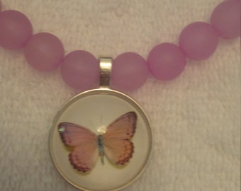Plum Beaded Butterfly Pendant Necklace  (#421)