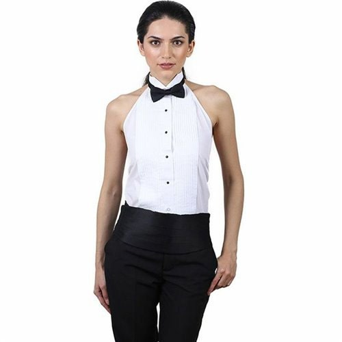 smoking blanc halter chemise femme. Black Bedroom Furniture Sets. Home Design Ideas