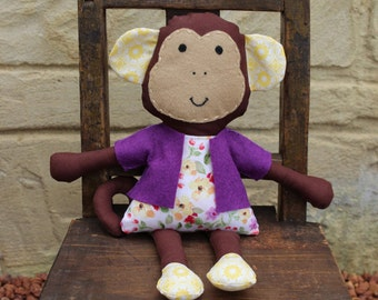 Soft toy girl monkey, handmade animal ragdoll, softy, plush toy