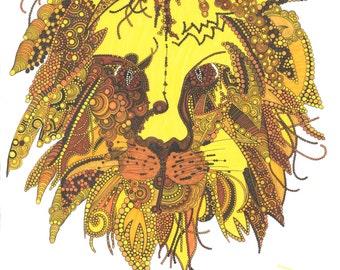 Lion / 'Roarrry the Lion' Portrait Print / Animal Kingdom - the King of the Jungle /