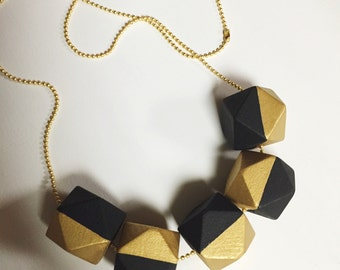 Geometric Wood Bead Necklace - Black and Gold
