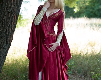 Medieval Fantasy Crimson Dress Game of Thrones inspired Cersei gown made to order