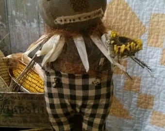 Primitive  Pumpkin head Scarecrow Fall Halloween Sunflower Cloth doll Faap Hafair