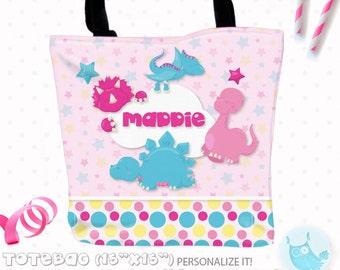SALE Dinosaur girls Personalized Tote Bags, custom Tote bag, kids tote, school tote, kindergarten tote, beach tote bag, dino Tote Bags TB119