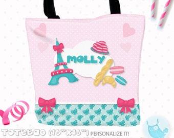 SALE Paris bakery Personalized Tote Bags, custom Tote bag, kids tote, school tote, kindergarten tote, beach tote bag, Paris Tote Bags TB118
