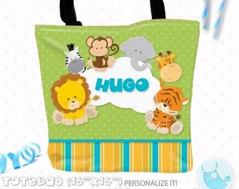 SALE Safari animal Personalized Tote Bags, custom Tote bag, kids tote, school tote, kindergarten tote, beach tote bag, lion Tote Bags TB105