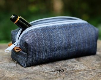 Manly, Rustic Zipper Case - Denim bag with Leather accents and Gray Zipper, Vinyl lined - Pipe Case, Razor Bag, Pen pouch, Small Duffel