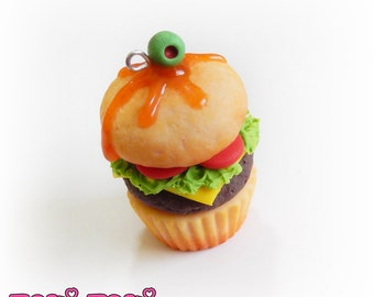 Cupcake Burger Necklace Polymer Clay Cupcake Pendant Fake Food Miniature Accessory