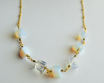 Beautiful White Precious Opal Crystal on 18K Gold filled Necklace/Raw quartz crystal/Healing Stones