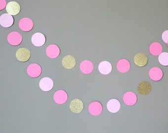 Pink and Gold Glitter Circle Garland, Baby Shower Decorations, Princess Party,First Birthday,Party Decorations,Pink and Gold, Cake Smash