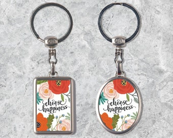 Quote Keychain, Happiness Keyring, Metal Keychain, Double-sided Keyring, Watercolor Key Chain, Inspirational Quote, Personalized Keyring