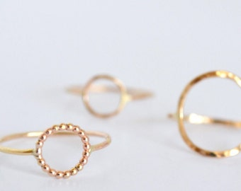 Small Circle Ring, Geometric Ring, Round Ring, Simple Round Ring, Open Circle Ring, Karma Ring, Little Bubble Ring, Bead Wire Circle Ring