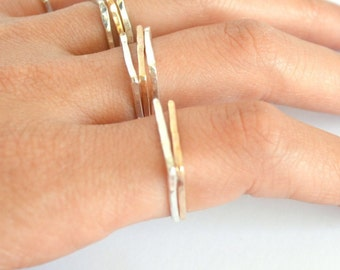 Square Ring, Square Thin Gold Ring, Dainty Stacking Ring, Midi Ring Square, Knuckle Silver Ring, Square Shape Band, 14kt Gold filled ring