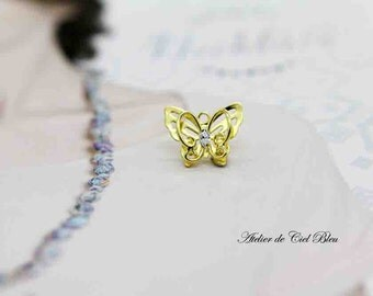 Butterfly Charm, Tiny Butterfly Charm, Gold Butterfly Charm, Gold Butterfly Pendant, Butterfly Jewelry