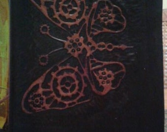 Handmade leather journal with Steampunk Butterfly design
