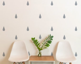 Grey Raindrops | Pattern Animals Kids Nursery | Removable Wall Decal Sticker | MS171VC-Grey