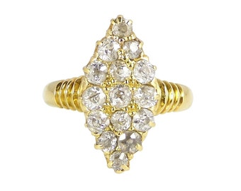 Late Victorian Diamond Marquise Ring, In 18ct Gold, Antique Diamond Navette Ring, Antique Engagement Ring