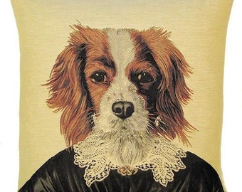 King Charles Cavalier Pillow Cover - 18x18 Belgian Tapestry Pillow Cover - Dog Throw Pillow - PC-409