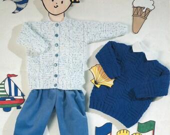 "Aran Knitting Pattern - Children's Cardigan and Winter Sweater Set - 20 to 26 """