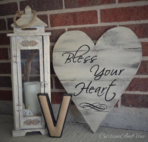 Pallet Wood Sign - Bless Your Heart - Pallet Board - Shabby Cottage Chic - Rustic Barnwood Decor - Hand Painted - Southern Style