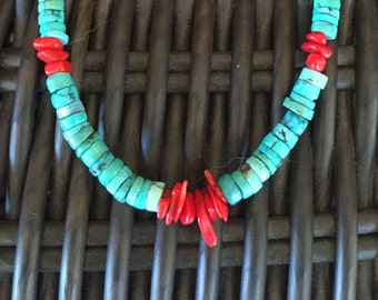 Turquoise and Coral Choker Necklace
