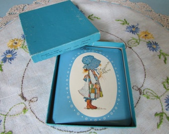 """Turquoise Blue Hollie Hobby Photo Album// Small Hollie Hobbie Memorabilia Photo album/ Holly Hobby Collectible.  4.25"""" X 5"""""""