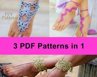 THREE CROCHET PATTERNS: Gray Barefoot sandals #1 + Snake barefoot sandals #5 + Barefoot Sandals & Bracelets #12