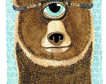 Bear Print, Watercolor Bear Archival Print, Watercolor Posters, Kids and Nursery Art