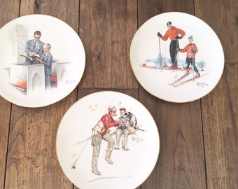 Norman Rockwell Father Son Four Seasons Plates 1980 Fathers Day Gift
