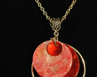 "Red Mother of Pearl pendant on 18"" silver  chain"