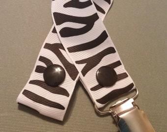 SALE! Zebra Print Pacifier Clip