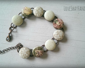 Vintage Floral Multi Fabric Button Bracelet
