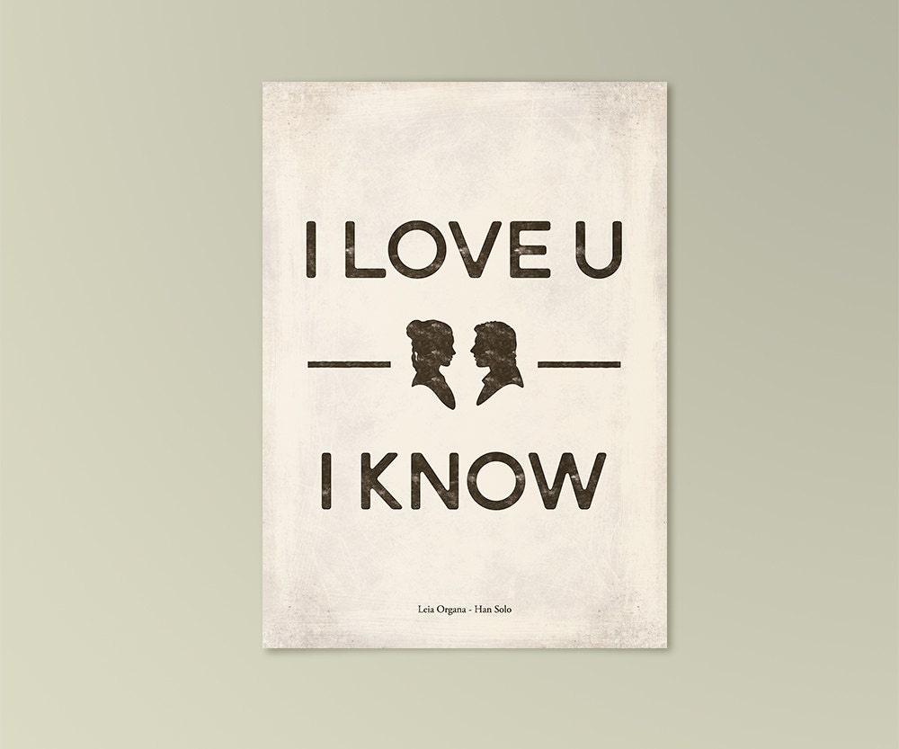 I Love You Quotes Cards : Star Wars I love you I know Quote card love by RedHillPrintables