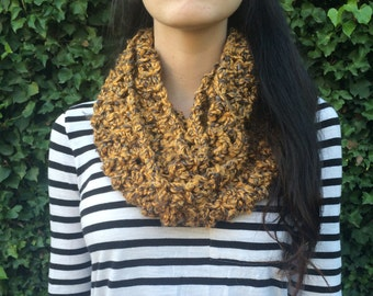 Crochet Yellow/ Mustard/ Golden Infinitiy Scarf