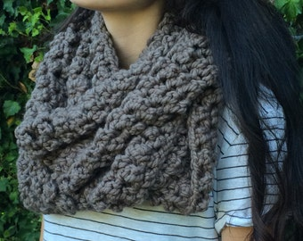 Crochet Taupe / Gray Infinity Scarf
