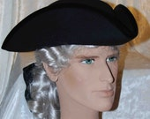 Tricorn Hat for Men made of Wool - Black or White - Pirate costume for men - cap01/cap02