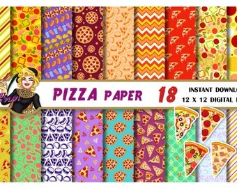 Pizza digital paper, pizza clipart, taco paper, burgers paper, pizza party, pizza scrapbook paper, Scrapbooking paper, backgrounds, patterns