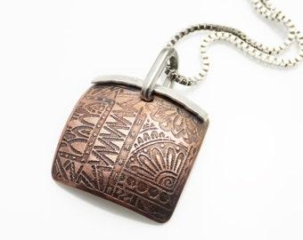 Etched Copper Necklace | Vintage Look Necklace Square Pendant | OOAK Hippie Necklace | Unique Copper Necklace | Hippie Style | Boho Jewelry